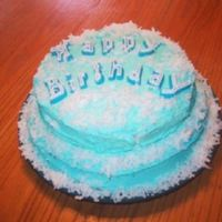 Tiffany Blue Coconut Cake!   I made this for my sister several years ago. Double layer with store bought (lol) icing and coconut! Very delicious!
