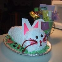"Bunny Easter Cake! Bunny cakes are a tradition in our family. I used coconut to decorate as the ""fur"", jellybeans for the eyes and nose, Twizlers..."