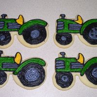 Tractor Cookies NFSC with a meringue buttercream frosting