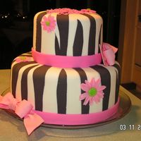 Zebra Stripes fondant zebra stripes trimmed with pink gumpaste ribbons and flowers for my great-neice Asheton's birthday.