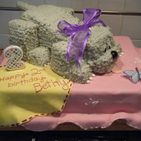 Daughters 2Nd Birthday Fondant blanket, buttercream doggy.