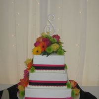 Lainey's Cake Wedding Cake-Middle tier real Strawberry Swirl-filled with Strawberry Cream