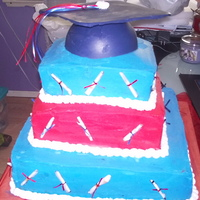 Red And Blue Chocolate cake with chocolate filling. BC and modeling chocolate.