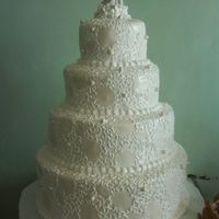 White Wedding 4 TIER CAKE WITH WHITE GUMPASTE