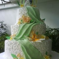 3 Tiered Cake With Drapes fondant looking cake with drapes,,, choc on the base, marble on the 2nd and butter on the top