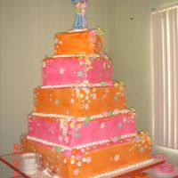 Fuchsia And Orange A 5 TIERED BOX SHAPED AEDDING CAKE IN FUCHSIA AND ORANGE