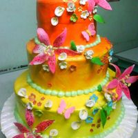 3 Tiered Cake In Sunburst this s layer cake is my gift for my aunt on her 60th bday but can also be a wedding cake