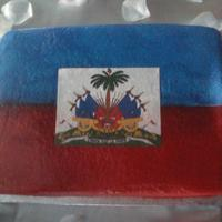 Haitian Flag/groom Cake 1/4 sheet, sprayed w/edible paint, middle printed on sugar paper