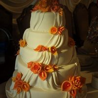 Wedding Cake With Gum Paste Calla Lilies And Roses