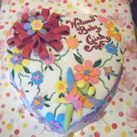 Heart Baby Shower Cake  I made this for my sister's baby shower. It was my 3rd cake. It was white cake with strawberry filling and white fondant. I made a big...