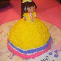 Princess Dora Birthday Cake This was the 2nd cake I made for my daughter's 3rd birthday. She loves Dora and wanted a Princess Dora Cake. I used a dora figurine...