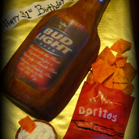 Bud Light Bottle This cake was made for a friend of a friend. Two of his favorite things are Bud Light and Doritos with sour cream. TFL