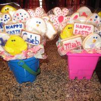Easter Cookie Bouquet  This is the first time I've mad cookie bouquets. I made them for my niece and nephew for Easter. Most of the decorating ideas of the...
