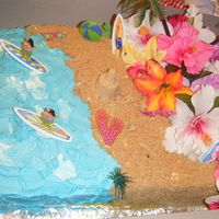 Luau Cake 11x15 sheet cake for a luau party for 2 little girls