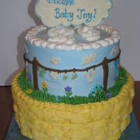 Clothesline Baby Shower Cake Made this for my SIL's baby shower. (with the Onesie cookies...see my pics) Whipped cream icing, chocolate accents. TFL!