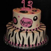 Pink Zebra - 13 For my friend's niece. She found a picture she liked (don't know where) and I used that for inspiration. BC icing w/fondant...