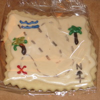 Treasure Map Cookies! Made these for my son's Pirate birthday party. Iced in white chocolate (ran out of time to royal icing! LOL!)
