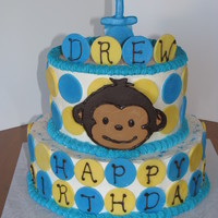 Mod Monkey For Drew Made this for my son's 1st birthday. Whipped cream icing with modeling chocolate and chocolate transfer accents. Did matching banana...
