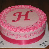 'h'ot Pink Monogram Cake For a bridal shower. Also did matching 'H' truffles. Chocolate transfer.