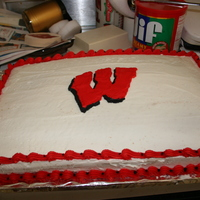 Wisconsin Badgers Cake I had the privledge to have 3 of the 2010 Badger Football team come to a summer picnic that our family threw, including JJ Watt!!