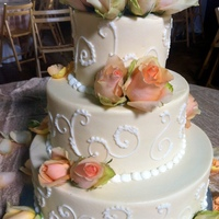 Ivory-White Scrolls Wedding Cake