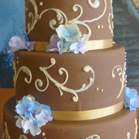 Chocolate Fondant And Gold Wedding Cake