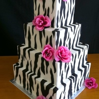 Zebra Wedding Cake With Hot Pink Roses Dummy cake just for display.... TFL