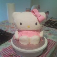 Hello Kitty Cake I made this for my daughter's 6th birthday.. my 1st real 3-d cake!.. head is made of rice krispie treat and body is cake and fondant (...