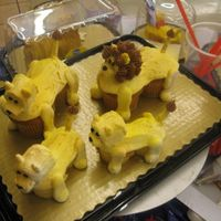 Lion Family A family of lions.. make of regular & mini cupcakes, marshmallows, pretzels, and buttercream icing