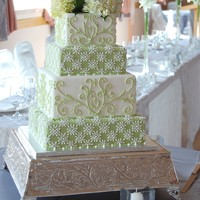 "Green & White Square Piped Wedding Cake By Charmpastry A 6,8,10, 12"" square four-tier wedding cake in an apple/celery green and white color palette. Inspired by a cake featured in Martha."