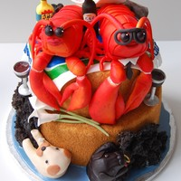 "Lobsters On A Beach Wedding Cake By Charmpastry For a great couple who are each other's ""lobsters"", this wedding cake was designed to fit their personalities and to..."