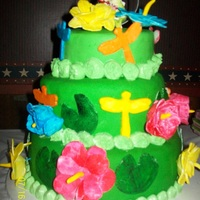 1St Wedding Cake The theme was tropical/Hawaiian. The bride had the frogs for her topper & wanted shades of green & bright colors. Other than that,...