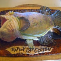 Large Mouth Bass Another last minute order...cookies n cream cakes w/ vanilla buttercream...covered in MMF & Air Brushed...he loved it...