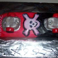 Hot Pink & Black Skateboard W/ Skull & Cross Bones