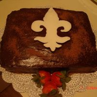Chocolate_Cake.jpg Chocolate Cake for my aunt, she is from Lousianna and wanted a cake with the Lousianna symbol on it!!!
