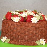 Strawberry Basketweave This was a cake of many firsts for me. First time basketweave, first time torting, first time making gumpaste daisies. Its far from perfect...