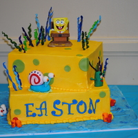 Spongebob Friend's son fell in love with cc'er Clairy's cake. This is my smaller version. Buttercream with fondant/gumpaste accents....