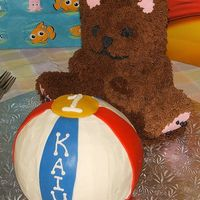 1St Birthday Cake Bear And Beach Ball These are my Grandson's two favourite things, Teddybears and Beach Balls! The Bearis decorated with buttercream using the triple...