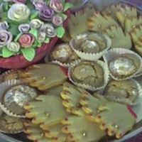 Bridal Shower Hand Cookies The rose basket was made entirely of gum paste, including the bowl. The hand cookiesare coated in marzipan. I painted the cookies (nail...
