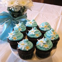 Baby Blue Shower Cupcakes  Chocolate cupcakes with vanilla buttercream dyed teal. Fondant star flower with buttercream center, dusted with canary yellow luster dust....