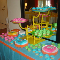 Dr. Seuss' Whoville Treats Colorful cupcakes and three individual 6in square cakes decorated in Seuss character Color Flow. This was a joint birthday party for 3...