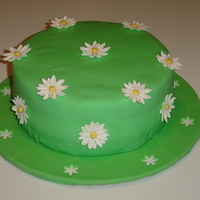 Daisy Green   My first fondant cake. Gum paste daisies, covered cake round in fondant, used punch-outs for added detail.