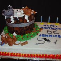 Bath Time For Puppies  Base is Chocolate cake w/bc, wash tub is vanilla, w/bc and fondant wood planks and fondant puppies. Water is gel icing tinted blue. All the...