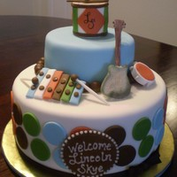Boy Baby Shower - Musical Theme Music instruments are made of fondant.
