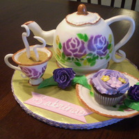 Tea Time The teapot was made of the Sports Ball Pan Set. The handle and spout was a combo of fondant and gum paste. The cup, saucer and roses were...