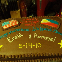 Adoption Cake Chocolate WASC cake with fudge buttercream. Made for the celebration of the finalization of two boys from the Philipines.