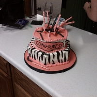 College Grad Cake This was for a friend who graduated from college. Her party was pink and black and her personality is crazy so I went with a little zebra...