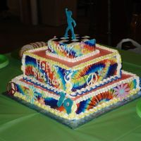 70's Theme Tie-dye edible icing sheets