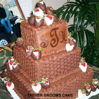 Basketweave Groom's Cake Chocolate Monogram, Dipped Strawberries