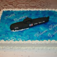 Submarine Cake Birthday & Welcome Home for a Navy sub sailor who just finished his tour of duty.